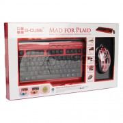 "Комплект кл-ра+мышь G-Cube A4-GKSP-2305R,""Mad For Plaid"", 6 доп. клавиш,порт USB,аудио, коврик,USB"