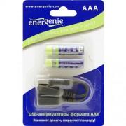 Аккумуляторы Energenie EG-BA-002 AAА-размера с mini USB разъемом для заряда (блистер 2 шт + кабельminiUSB 5 pin)