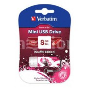 Флеш диск USB 8 GB VERBATIM STORE N GO MINI GRAFFITI EDITION 98165 КРАСНЫЙ