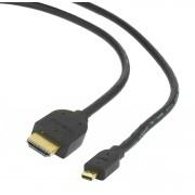 Кабель HDMI-microHDMI Gembird/Cablexpert CC-HDMID-6, v1.3, 19M/19M, 1.8м, черный, позол.разъемы, экран, пакет