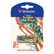 ФЛЕШ ДИСК VERBATIM 8GB STORE N GO MINI TATTOO EDITION DRAGON USB2.0 БЕЛЫЙ
